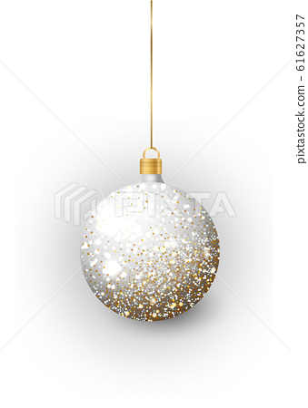 Silver Christmas tree toy set isolated on a transparent background. Stocking Christmas decorations. Vector object for christmas design, mockup. 61627357