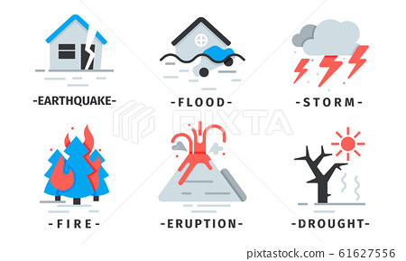 Natural Disaster Icons Vector Set. Destructive Forces of Earth 61627556