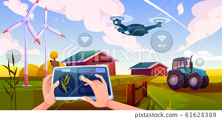 Smart farming, futuristic technologies in farm 61628389