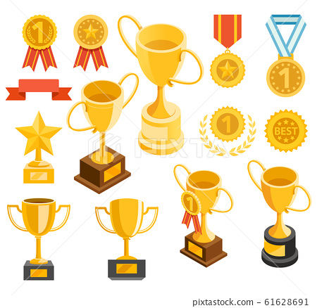 Golden trophy and medal material icons. Vector 61628691