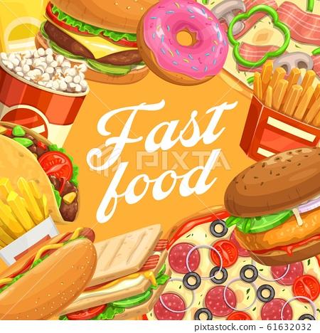 Fast food hamburger, hot dog, taco, pizza, popcorn 61632032