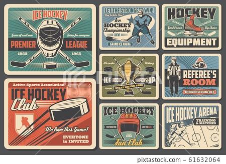 Ice hockey sport, retro players, arena rink 61632064