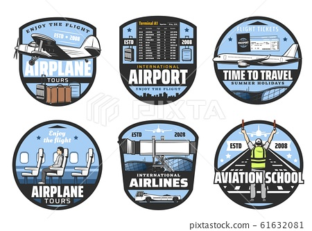 Airlines and airport, flights, aviation icons 61632081