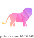 Purple and pink gradient lion isolated 61632349