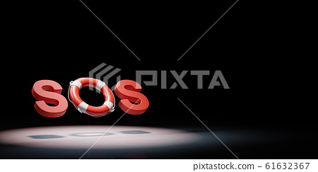 SOS Text Lifebelt Spotlighted on Black Background 3D Illustration 61632367