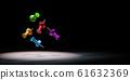 Colorful Thumbtack Spotlighted on Black Background 3D Illustration 61632369