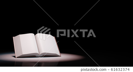 Open Book Spotlighted on Black Background 3D Illustration 61632374