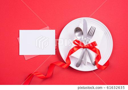 情人節 餐廳 盤子 頂視圖 大餐 Valentine's Day Plate バレンタイン 61632635