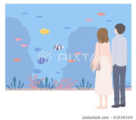 情侶約會在水族館 61636504