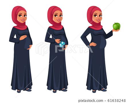Beautiful pregnant Muslim woman in hijab 61638248