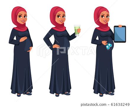 Beautiful pregnant Muslim woman in hijab 61638249