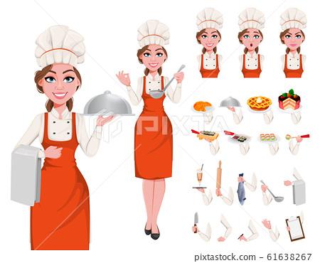 Beautiful young chef woman 61638267