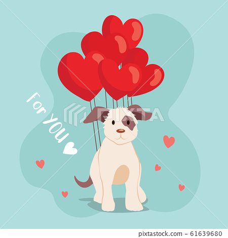 Happy Valentine's Day cute dog with balloon, 61639680