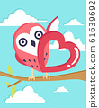 Happy Valentine's Day with owl in love background, 61639692