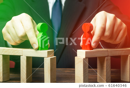 Mediator organizes a meeting negotiations between parties side conflict. Establishing contact. Truce agreement. Political Debate. civilized resolution disputes, search for compromise. Candidates 61640346