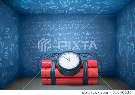 3d rendering of huge time bomb lying on floor in blue room with walls all covered in algebraic formulas and business-related images. 61640636