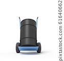 3d rendering of black barrel standing on top of blue hand truck. 61640662