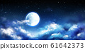 Full moon in night sky with stars and clouds scene 61642373