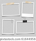 Realistic empty photo card frame, film set. Retro vintage photograph with transparent adhesive tape 61644956