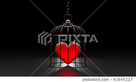 Broken heart is locked in a cage. 61645227