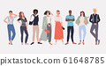 people fashion bloggers standing together smiling mix race men women posing female male cartoon characters full length horizontal 61648785