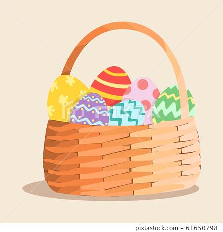 Easter Egg Basket Vector 61650798