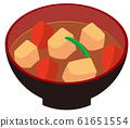 Miso soup with pork and vegetables 61651554