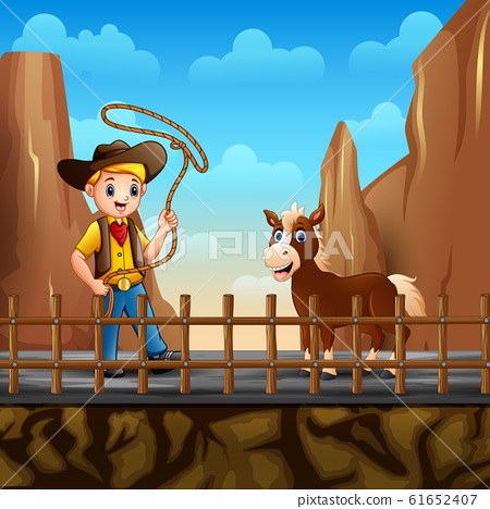 Cowboy and a horse in the desert landscape 61652407