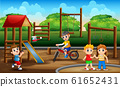 Cartoon many boys having fun outside 61652431