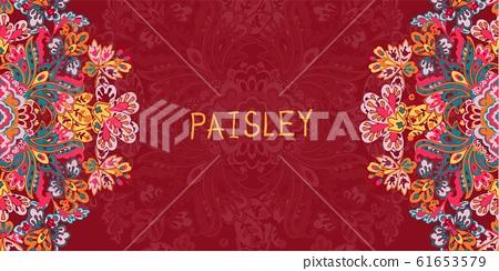 美麗優雅的抽象佩茲利花卉 61653579