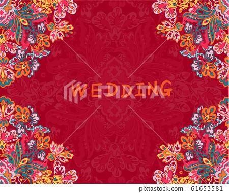 美麗優雅的抽象佩茲利花卉 61653581