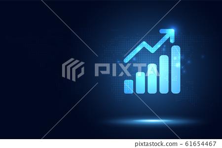 Futuristic raise arrow with bar chart graph 61654467
