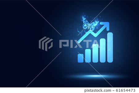 Futuristic raise arrow with bar chart graph and 61654473