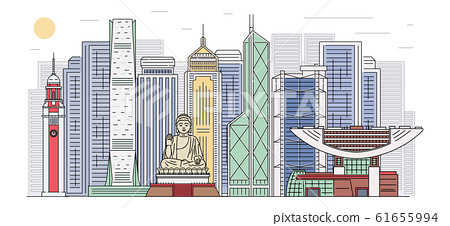 Hong Kong skyline with landmarks banner, cartoon sketch vector illustration. 61655994