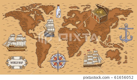 ancient cartoon world map with sea ships and stock illustration 61656052 pixta ancient cartoon world map with sea