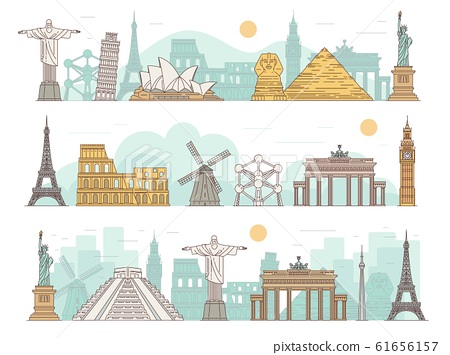 Famous international travel landmark banner set with tourist attractions 61656157