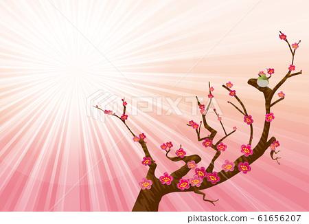 春天的图像景观的插图|充满光,红李子和白眼的粉红色背景的插图 61656207