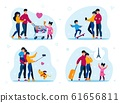 Family Life Routine and Recreation Flat Vector Set 61656811