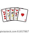 紙牌的插圖。皇家同花順使用賭場撲克遊戲中最強的手牌。 61657867