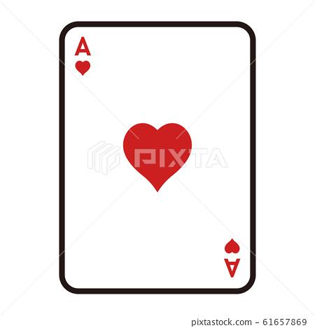 紙牌的插圖。用於遊戲的撲克牌心的王牌。 61657869