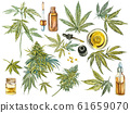 CBD oil hemp products. Watercolor illustration on white background. 61659070