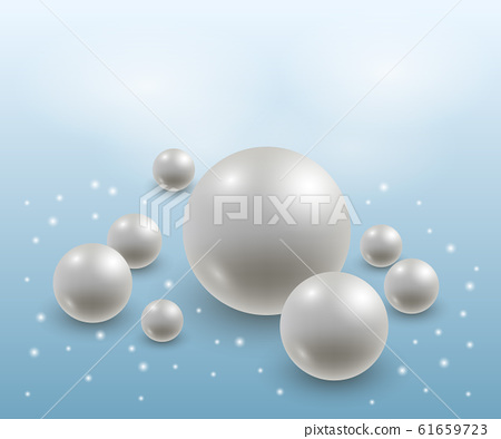 Abstract background with realistic 3d pearls. Elegant luxurious design, white and blue. Vector illustration 61659723