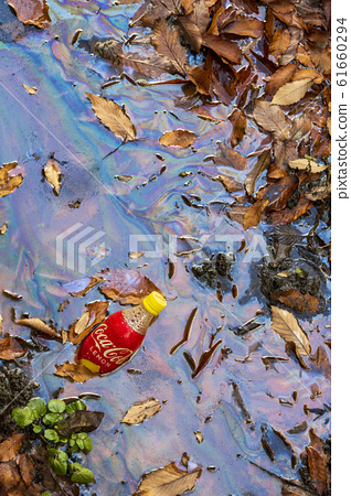 기름에 오염 된 물 61660294