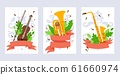 Musical instrument banner, vector illustration. Violin, tuba and saxophone in flat style. Concert invitation, music school booklet cover template. Musical instruments store 61660974