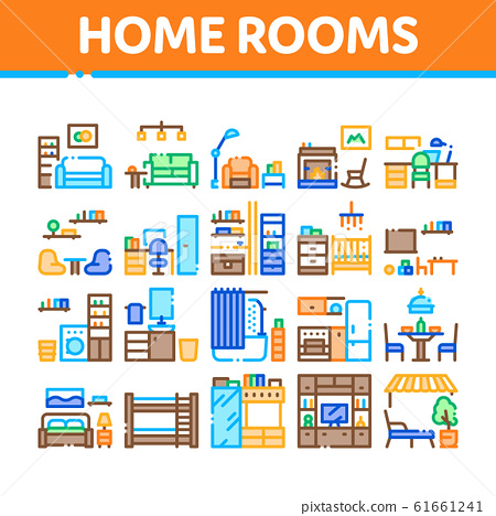 Home Rooms Furniture Collection Icons, Home Rooms Furniture