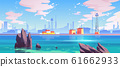 Sea port industrial shipyard with cargo containers 61662933
