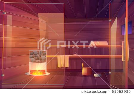 Sauna empty room with glass doors wooden bathhouse 61662989