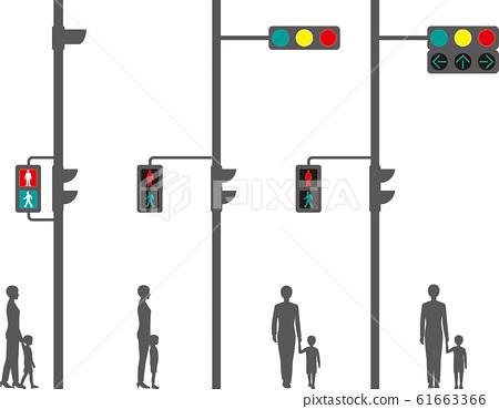 Horizontal traffic light, pedestrian traffic light, arrow traffic light and pedestrian 61663366