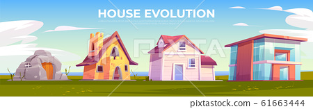 House evolution architecture. Dwellings time line 61663444