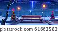 Christmas in night park, empty public garden view 61663583